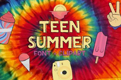 Teen summer - Layered font + Clipart