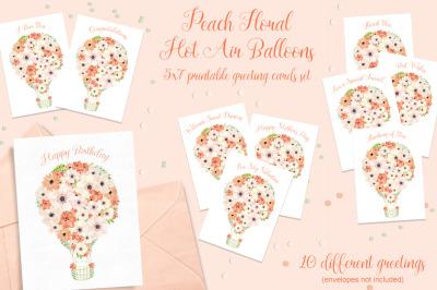 Peach Floral Hot Air Balloon Printable Cards