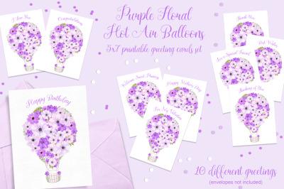 Purple Floral Hot Air Balloon Printable Cards