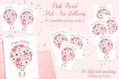 Pink Hot Air Balloon Printable Cards