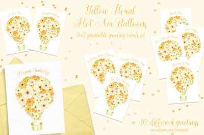 Yellow Floral Hot Air Balloon Printable Cards