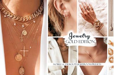 Jewelry Lightroom Presets. Gold Edition. Desktop & Mobile Presets