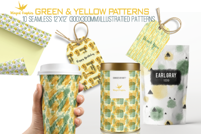 """Green and yellow seamless watercolor patterns / surface patterns  12""""x"""