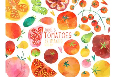 Watercolor Tomatoes Set
