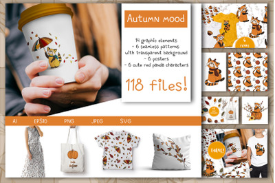 Autumn mood. clipart and patterns