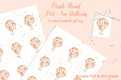 Peach Floral Hot Air Balloons Printable Tags