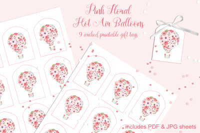 Pink Floral Hot Air Balloons Printable Tags