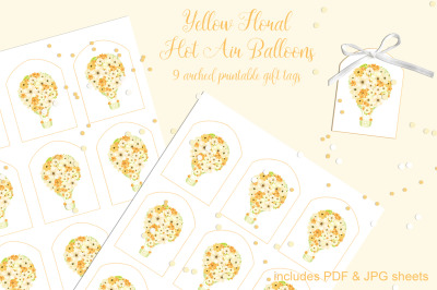 Yellow Floral Hot Air Balloons Printable Tags