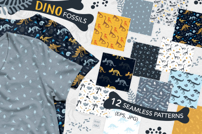 Dinosaur fossils patterns set