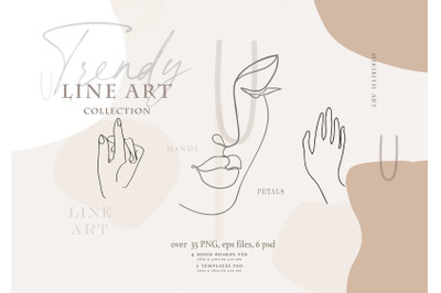 Trendy line art collection