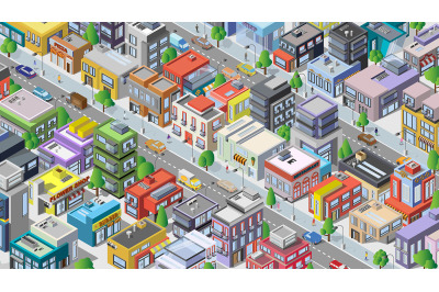 Isometric city. Megapolis with cars and people. Set of houses.