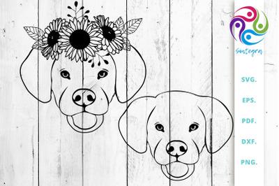 Floral Labrador Dog Svg Cut File