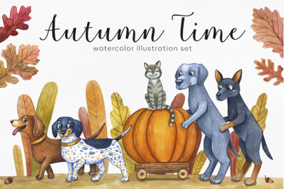 Dog's autumn. Watercolor set illustrations. Cute dog.
