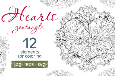 Hearts zentangle for coloring pages