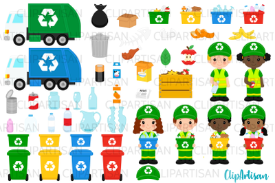 Recycling Clip Art, Garbage Truck Clipart, Earth Day
