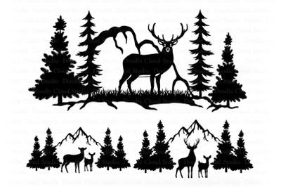 Deer and Mountains SVG Files, Deer Bundle SVG, Wildlife Svg.