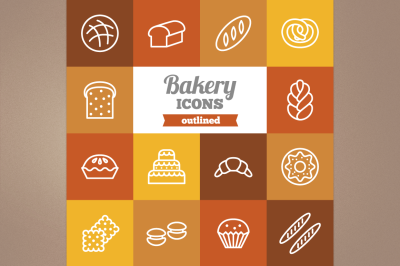 Outlined Bakery Icons