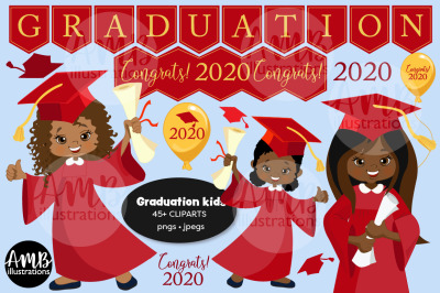 Graduation Kids in Red Gown Clipart AMB-2783