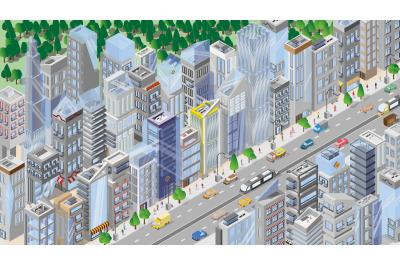 Isometric cities. City map. Architecture. Megapolis
