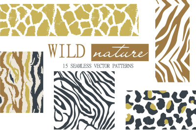 WILD nature seamless patterns
