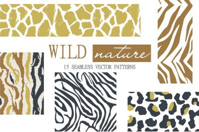 WILD nature seamless patterns