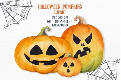Halloween pumpkin clipart Scary party invitation decor Watercolor