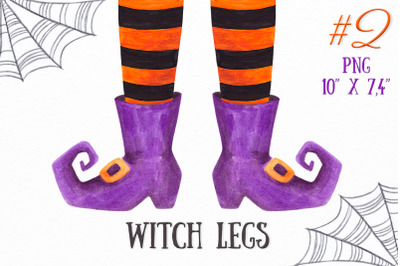 Watercolor Witch legs clipart Halloween witch feet clipart