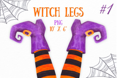 Halloween Witch legs clipart Watercolor party decor