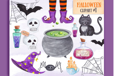 Watercolor Witch clipart Halloween items clipart decor