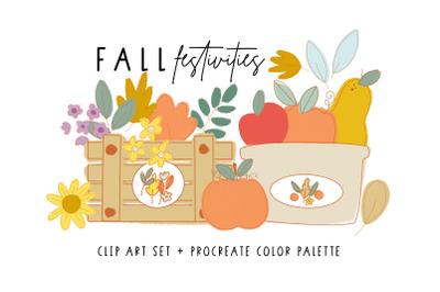FALL Festivities Clip Art + Palette
