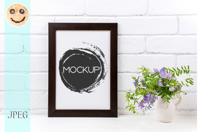 Black brown  poster frame mockup with purple bird vetch