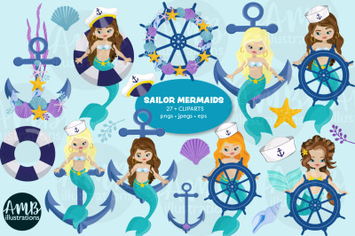 Sailor Mermaids Clipart AMB-2793