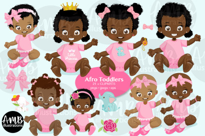 Afro Toddlers Clipart AMB-2805