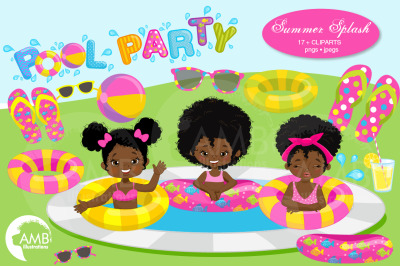 African American Pool Party Clipart AMB-938-B