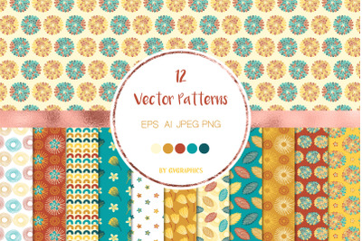 12 Autumn Flowers and Leaves Vector Patterns