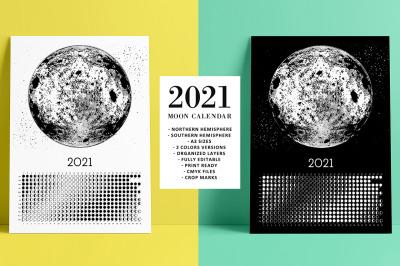Moon Calendar 2021 Black&White