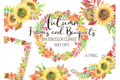 Watercolor autumn frames and bouquets clipart sunflowers leaves png