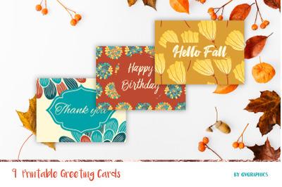 9 Fall Printable Greeting Cards