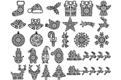 Christmas Mandala SVG Cut Files, Holiday Designs, Winter Mandala SVG.