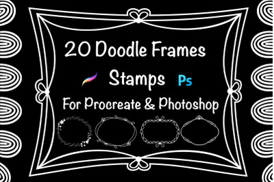 20 Doodle Frames Stamps for Procreate and Photoshop.