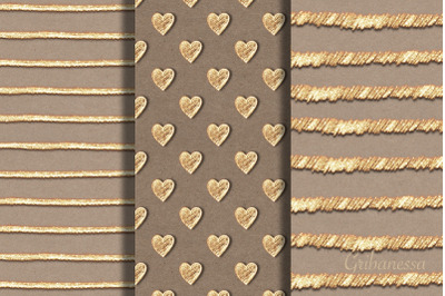 3 abstract gold seamless pattern
