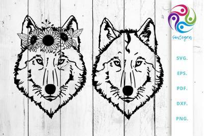 Floral Wolf Svg Cut File Bundle