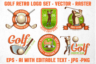 Golf Retro Logo Set