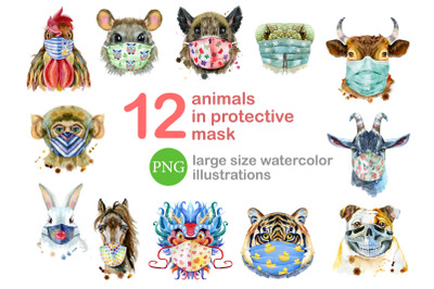 Animals in protective mask
