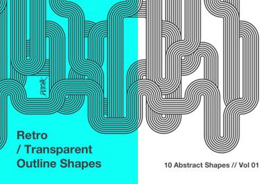 Retro Transparent Outline Shapes | V 01