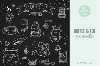 Coffee & Tea White Illustrations | Cookies + Espresso Machine + Cups