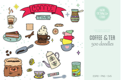 Coffee & Tea Color Illustrations | Cookies + Espresso Machine + Cups