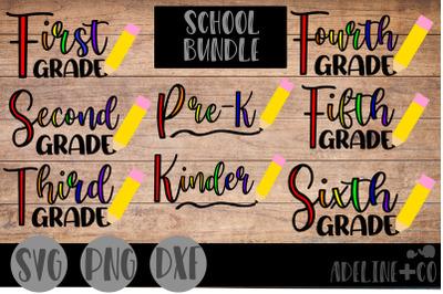 School bundle, SVG, PNG, DXF