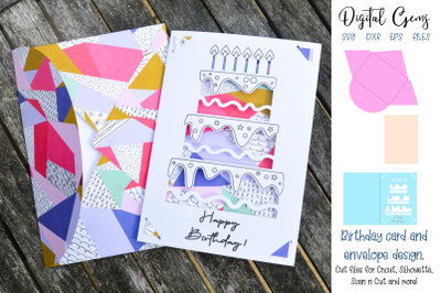 Birthday card and envelope design