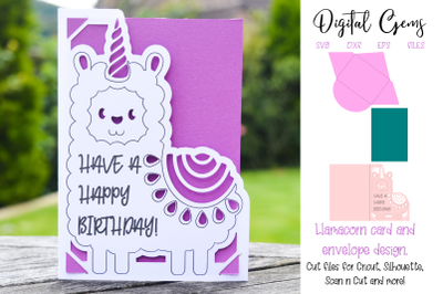 Llama, Llamacorn birthday card design